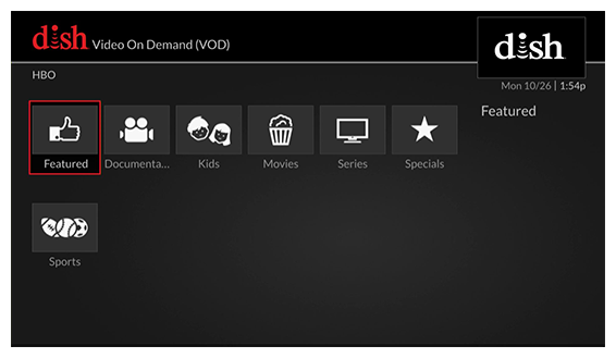 grid of video on demand options (use the remote to move through the grid of menu options)