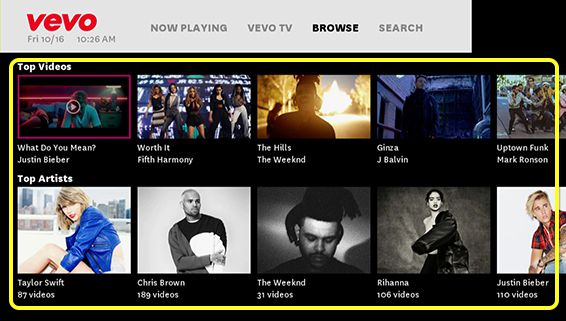 Vevo content (use the remote to move up, down, left and right through the grid of options)