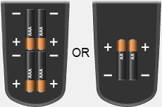 Battery compartments with 4 AAA batteries facing down, or 2 AA batteries facing up
