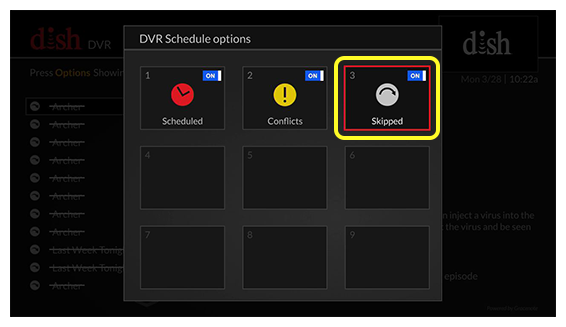 Grid of DVR Schedule options (Use the remote control to move through the grid of menu options.)
