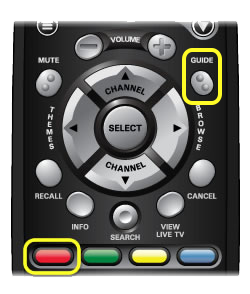Guide and Red buttons on a 40.0 remote