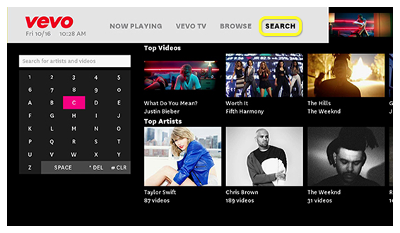 Browse button in Vevo app (use the remote to move up, down, left and right)