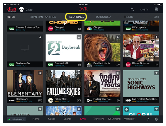 Recordings menu option at top of DVR screen in DISH Anywhere tablet app