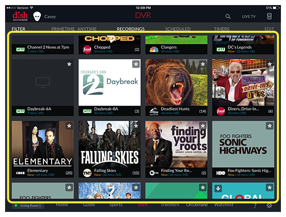 grid of available recordings in DISH Anywhere tablet app