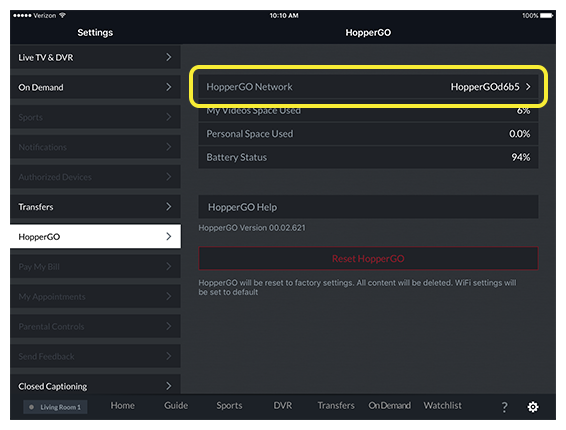 HopperGO network menu option in DISH Anywhere tablet app