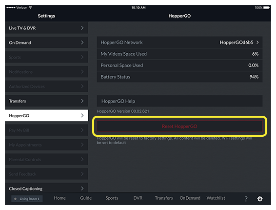 Reset HopperGO button in settings screen in DISH Anywhere tablet app