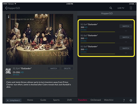 List of available episodes for the selected program in the DISH Anywhere tablet app