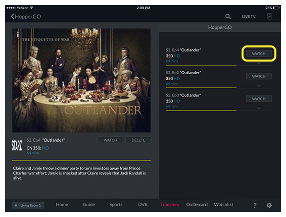Watch button for selected program in the DISH Anywhere tablet app
