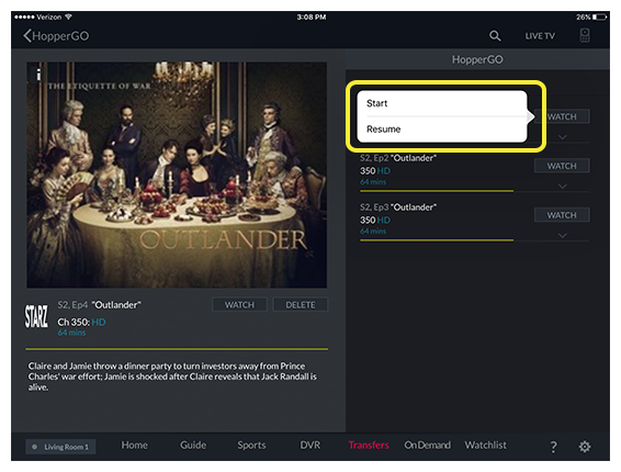 Option to Start or Resume watching the selected program in the DISH Anywhere tablet app