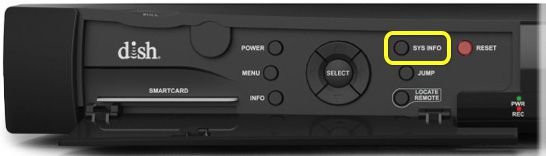 System Info button on front panel of receiver