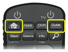 Home and Guide buttons (Home is the first button in the top row of four, Guide is the fourth button in the top row)
