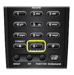 System Wizard button on 40.0 remote (zero button on number pad)