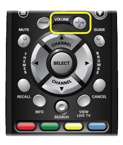Volume Up button on 40.0 remote (left hand button in the third row, indented with a plus sign)