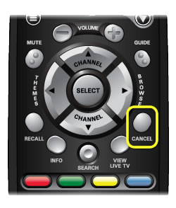 Cancel button on 40.0 remote (fourth button from the top on the right side of the remote)