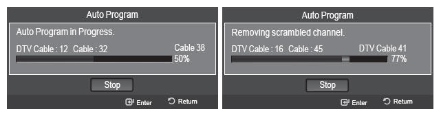 TV settings menu automatically scanning for channels