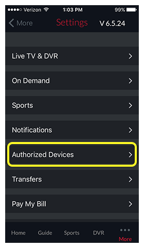 Authorized Devices menu option in DISH Anywhere phone app