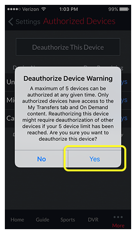 Deauthorize Device Warning pop-up prompt in DISH Anywhere phone app