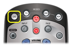 SAT mode button at the top of DISH remote