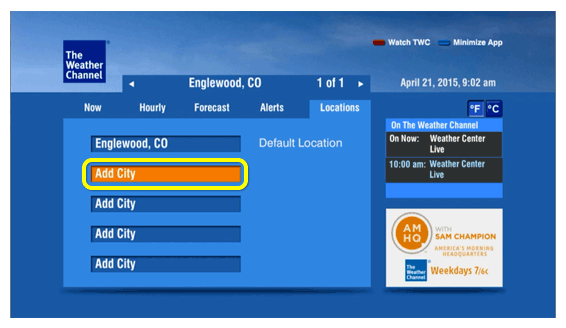 Add City menu option (use the remote to move up and down the list of menu options)