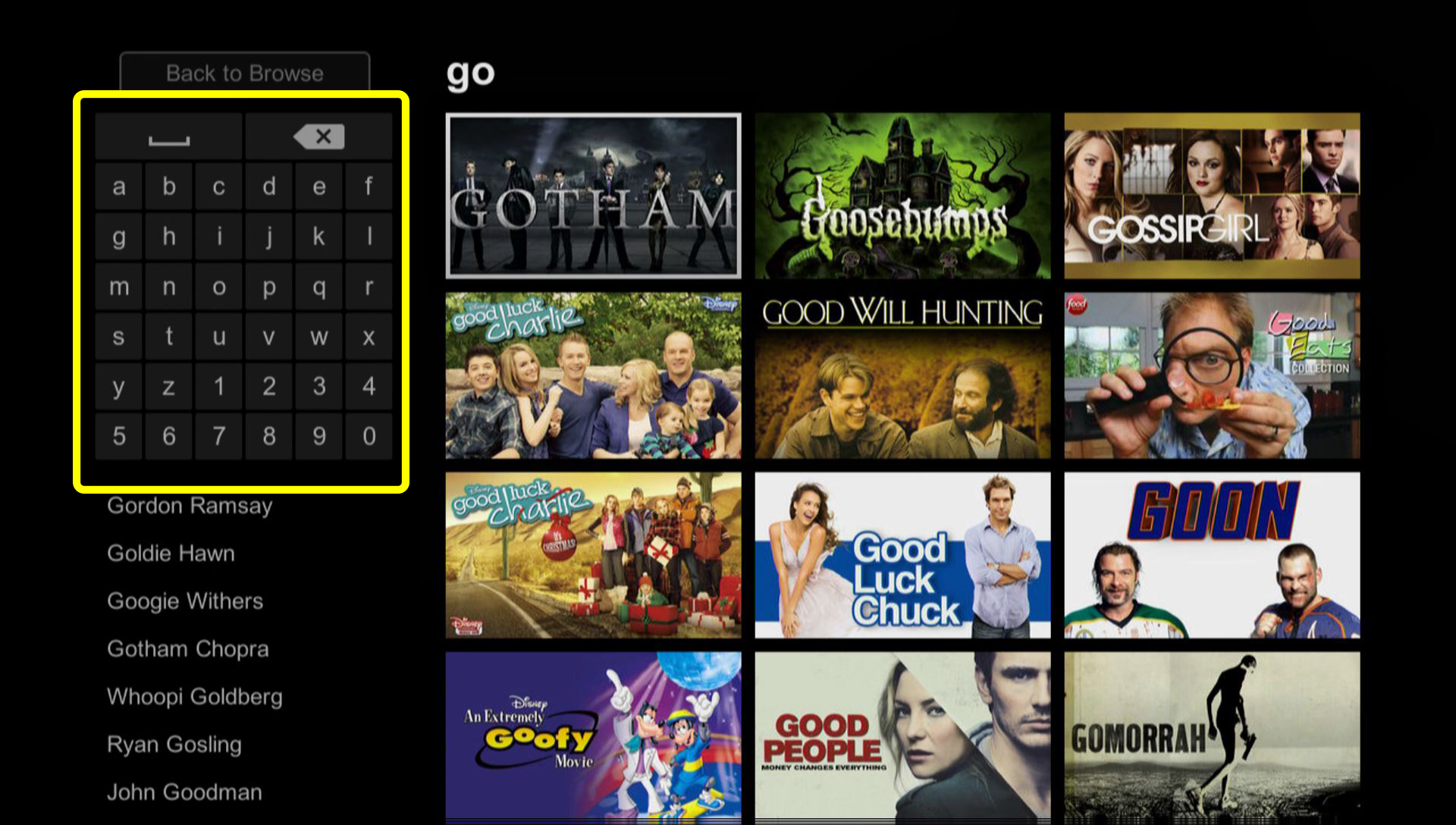 Netflix Search screen (use the remote to move up, down, left, and right to select characters on the on-screen keyboard)