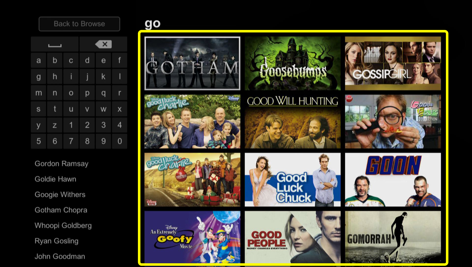 Grid of Netflix content (use the remote to move through the grid of menu options)