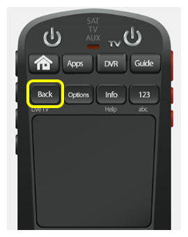 Back button on 50.0 remote (first button in second row of four buttons)