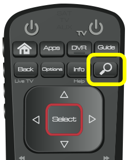 Search button on 52.0 remote (fourth button in second row of four buttons)