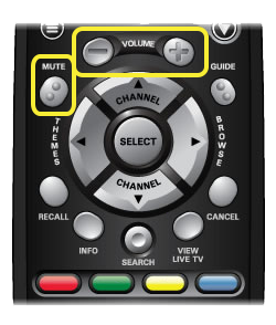 Volume and mute buttons on 40.0 Remote