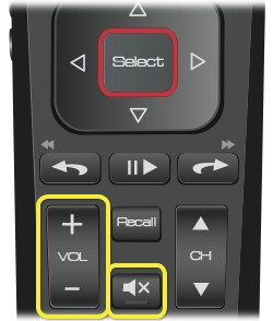 Volume and mute buttons on 52.0 Remote