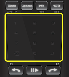 Touch pad on 50.0 remote (The Touch Pad is the flat square below the top two rows of buttons)