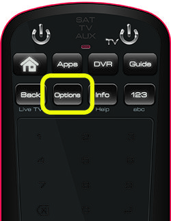 Options button on 50.0 remote (second button in second row of four buttons)