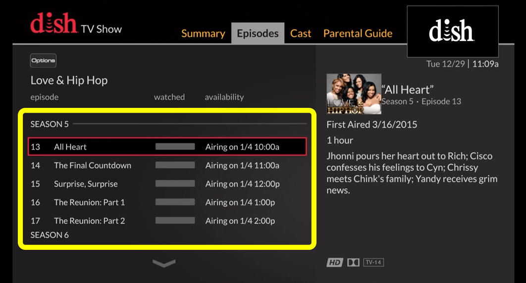 List of of TV show episodes (use the remote to move up and down through the list of options)