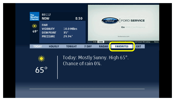 Favorites tab within the Weather Channel app