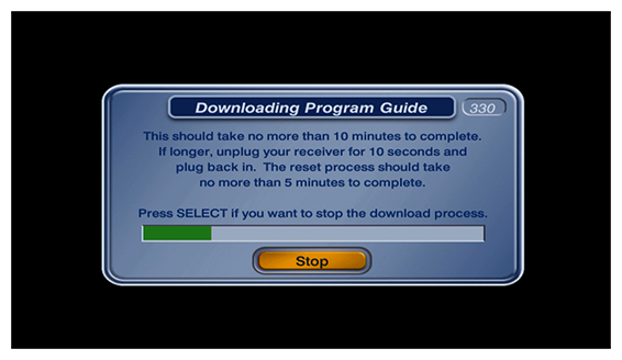 popup showing green progress bar of guide download