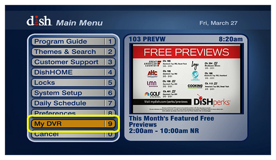 main menu of receiver showing My DVR as an option
