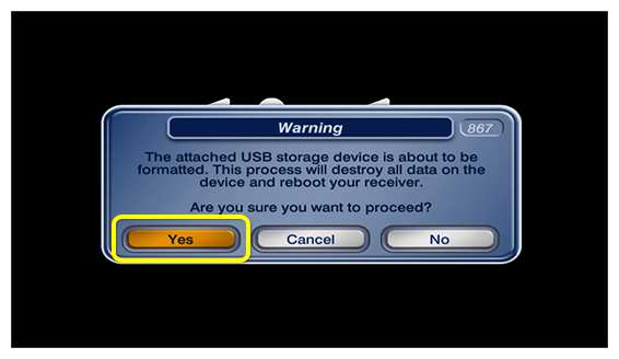 Yes button on popup confirming the connected hard drive will delete all stored recordings