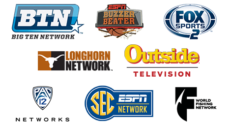 Big Ten Network, FOX Sports 2, Longhorn Network, Outside Television, Pac-12 Networks, SEC Network, World Fishing Network