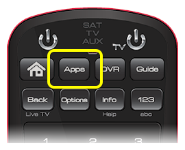 Apps button on 50.0 remote (second button in the top row of four buttons)