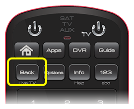 Back button on 50.0 remote (first button in the second row of four)