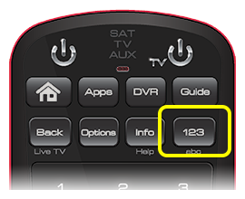 1 2 3 button on 50.0 remote (fourth button in the second row of four buttons)