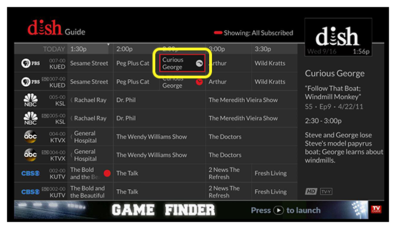 Program guide (Use the remote control to move through the grid of menu options.)