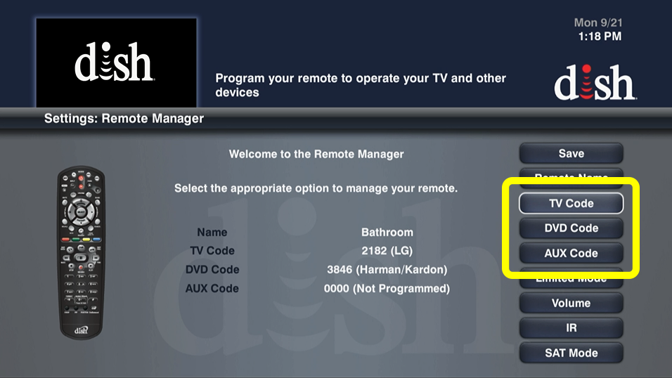 options for TV Code, DVD Code, and Auxiliary Code (use the remote to move up and down through the list of options)