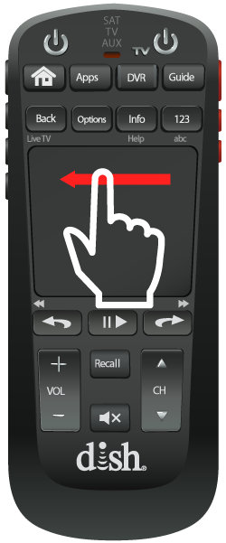 finger icon swiping quickly from right to left on the flat touch pad