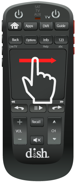 finger icon with a red arrow showing a dragging action across the flat touch pad