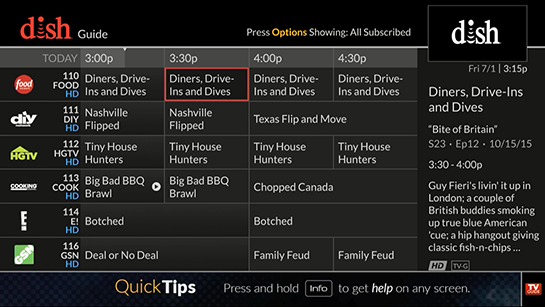 On-screen TV guide showing a currently selected program