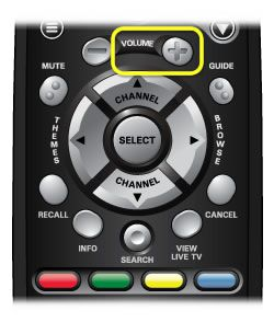 Volume up button on 40.0 remote (left side button in the third row, with a plus sign)
