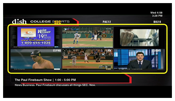 Grid of 6 live college sports programs (Use the remote control to move through the grid of menu options.)
