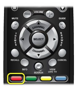 The red color button on the 40.0 remote (The red color button is the far left button in a row of four buttons in the middle of the remote.)