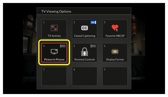 Grid of TV Viewing Options (Use the remote control to move through the grid of menu options.)