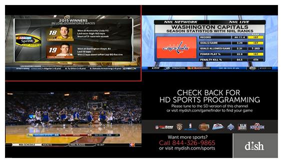 Grid of 4 live programs